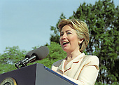 First lady Hillary Rodham Clinton makes remarks as she and United States President Bill Clinton participate in the Million Mom March showing their support for stronger gun laws in the U.S. on the South Lawn of the White House in Washington, D.C. on May 14, 2000. <br /> Credit: Ron Sachs / CNP