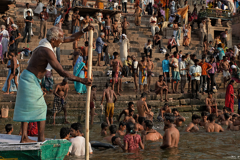 Crowds at the pilgrimage city of Varanasi.