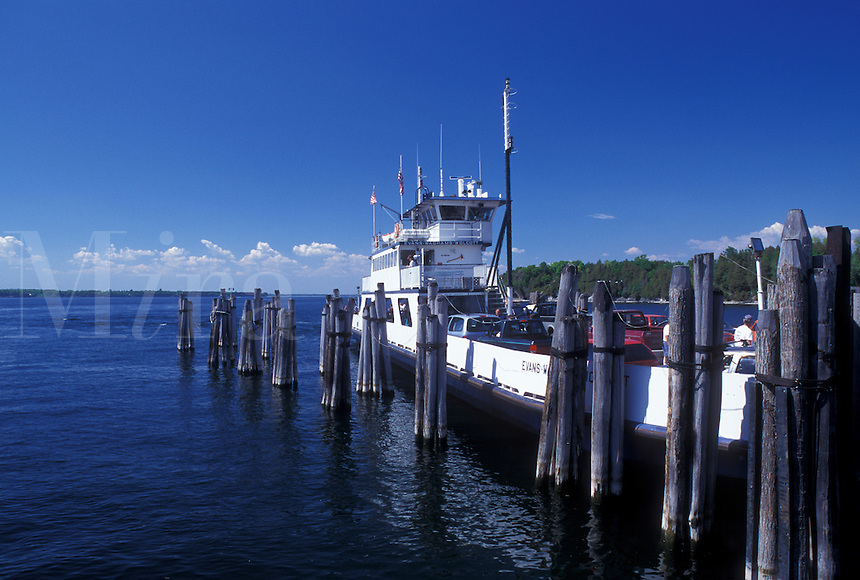 car ferry, Vermont, VT, Grand Isle, Champlain Ferry docked at Gordon Landing in Grand Isle on Lake Champlain.
