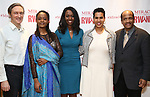 """George Drance, Malaika Uwamahoro, Immaculee ILibagiza, Leslie Malaika Lewis and Allen DeWane during a reception for  """"Miracle in Rwanda"""" honoring International Day of Reflection on the 1994 Genocide against the Tutsi in Rwanda at the Lion Theatre on Theater Row on April 7, 2019 in New York City."""
