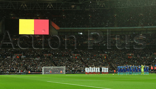 29.03.2016. Wembley Stadium, London, England.  International Football Friendly England versus Netherlands. A minutes silence is observed before kick off to remember the recent terror attacks in Belguim