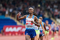 Mo FARAH of GBR after winning his 3000m race, the final track race he will compete in the UK during the Muller Grand Prix Birmingham Athletics at Alexandra Stadium, Birmingham, England on 20 August 2017. Photo by Andy Rowland.