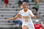 06 September 2015: USC's Sydney Sladek reacts to scoring the game's first goal. The University of North Carolina Tar Heels played the University of Southern California Trojans at Koskinen Stadium in Durham, NC in a 2015 NCAA Division I Women's Soccer match. UNC won the game 2-1.