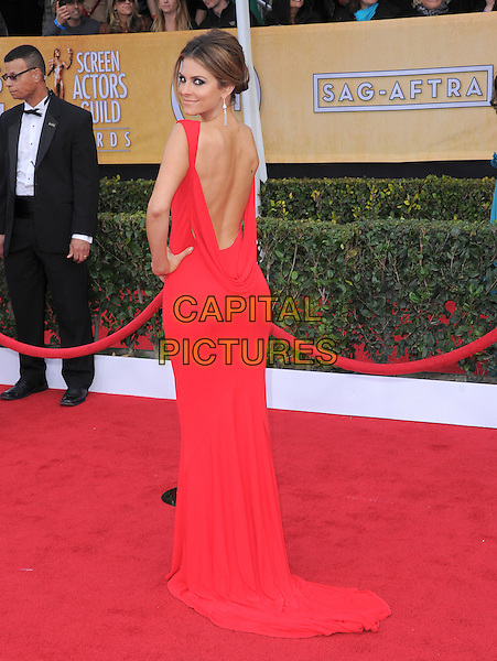 Maria Menounos.Arrivals at the 19th Annual Screen Actors Guild Awards at the Shrine Auditorium in Los Angeles, California, USA..27th January 2013.SAG SAGs full length red dress backless looking over shoulder train hand on hip.CAP/DVS.©DVS/Capital Pictures.