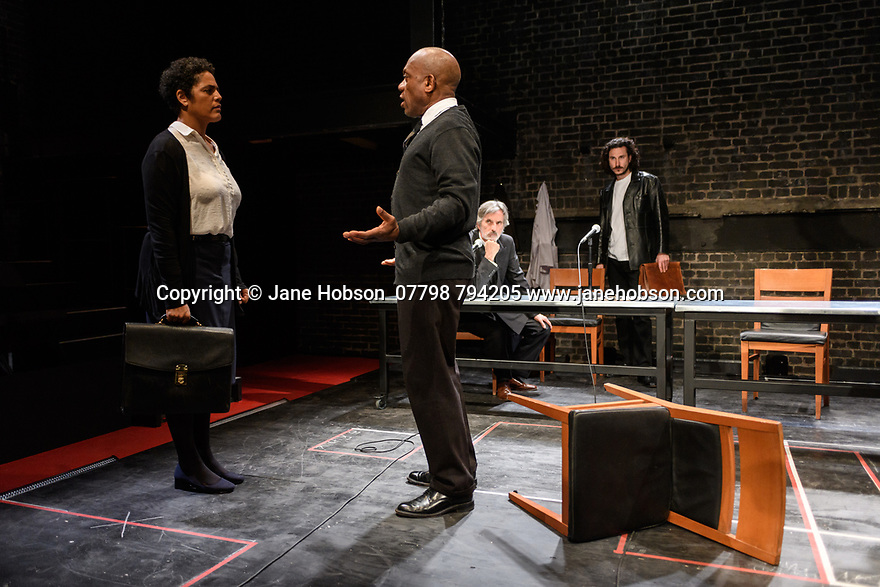 """A brand new adaptation of Albert Camus' """"The Plague"""" opens at the Arcola Theatre. Adapted and directed by Neil Bartlett. Picture shows: Sara Powell (Dr Rieux), Burt Caesar (Grand), Martin Turner (Mr Tarrou), Billy Postlethwaite (Mr Rambert)"""