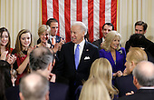 United States Vice President Joe Biden, with his wife Jill Biden celebrate after taking the oath of office from Supreme Court Justice Sonia Sotomayor surrounded by family during an official ceremony at the Naval Observatory, Sunday, Jan. 20, 2013, in Washington. Family members from left:  Noami Biden, Finnegan Biden, Kathleen Biden, Hunter Biden, Ashley Biden, Howard Krein, Beau Biden. .Credit: Carolyn Kaster / Pool via CNP