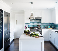 This custom mosaic backsplash features  Vera, a handmade mosaic from the Ann Sacks Beau Monde collection sold exclusively at www.annsacks.com