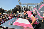 Race leader Maglia Rosa Simon Yates (GBR) Mitchelton-Scott at sign on before the start of Stage 18 of the 2018 Giro d'Italia, running 196km from Abbiategrasso to Prato Nevoso, Italy. 24th May 2018.<br />