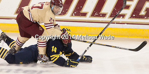 Quinn Smith (BC - 27), Tyler Motte (Michigan - 14) - The Boston College Eagles defeated the visiting University of Michigan Wolverines 5-1 (EN) on Saturday, December 13, 2014, at Kelley Rink in Conte Forum in Chestnut Hill, Massachusetts.