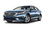 Stock pictures of low aggressive front three quarter view of 2016 Hyundai Sonata Eco 4 Door Sedan Low Aggressive