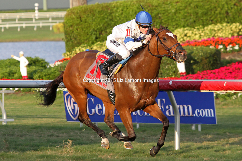 January 09, 2016:#11Heart to Heart (ON)  with jockey Julien Leparoux on board goes wire to wire to win the Fort Lauderdale Stakes G2 at Gulfstream Park in Hallandale Beach, FL.  Liz Lamont/ESW/CSM