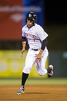 Dante Flores (1) of the Kannapolis Intimidators hustles towards third base against the Hagerstown Suns at Kannapolis Intimidators Stadium on May 6, 2016 in Kannapolis, North Carolina.  The Intimidators defeated the Suns 5-3.  (Brian Westerholt/Four Seam Images)