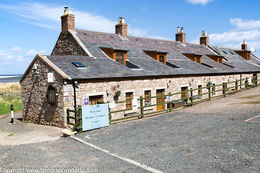 Tourist accommodation at Budle Bay, Northumberland coast, England, UK