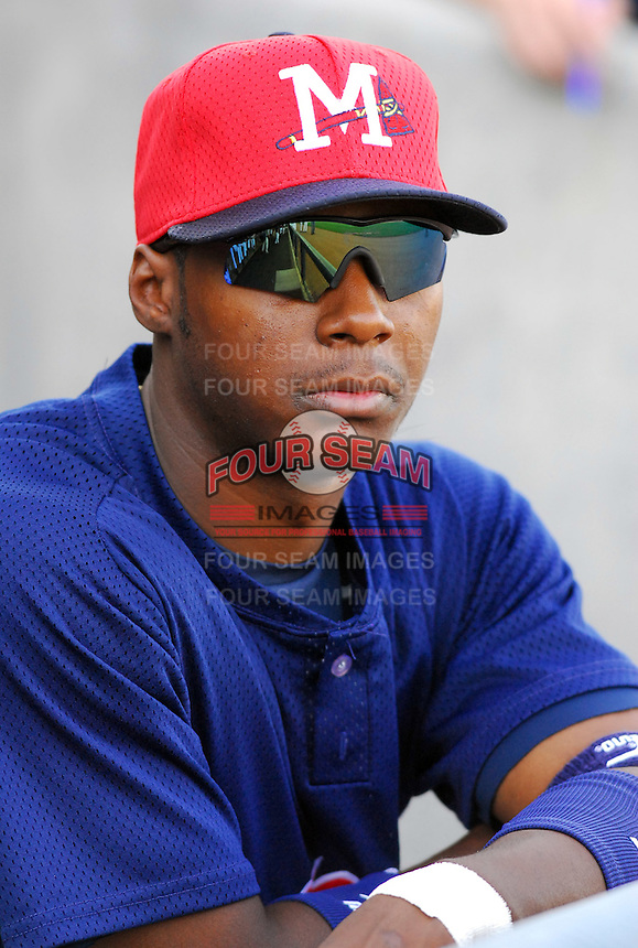 Outfielder Brandon Jones of the Mississippi Braves, the Atlanta Braves' Class AA affiliate of the Southern League, in a game April 21, 2007, against the Birmingham Barons at Trustmark Park in Pearl, Miss. Photo by:  Tom Priddy/Four Seam Images