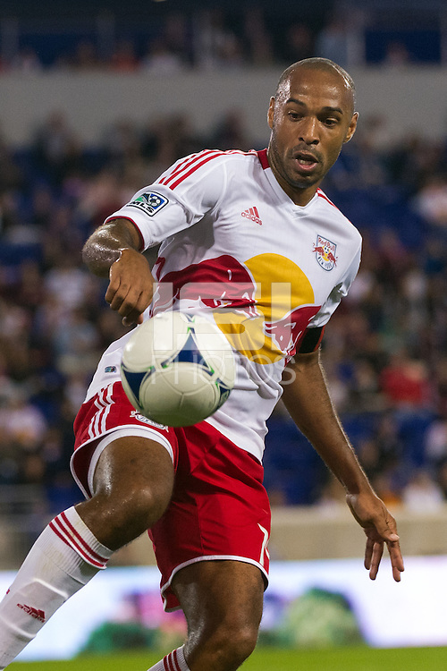 Thierry Henry (14) of the New York Red Bulls during a Major League Soccer (MLS) match at Red Bull Arena in Harrison, NJ, on September 29, 2012.