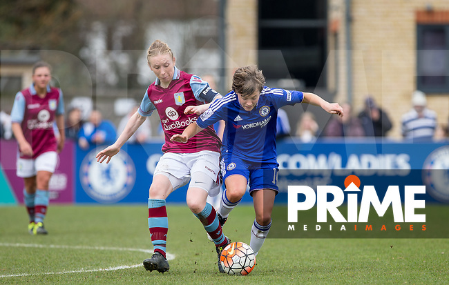 Katy Moran of Aston Villa Ladies & Fran Kirby of Chelsea Ladies in action  during the Women's FA Cup match between Chelsea Ladies and Aston Villa at Wheatsheaf Park, Staines, England on 3 April 2016. Photo by Andy Rowland.