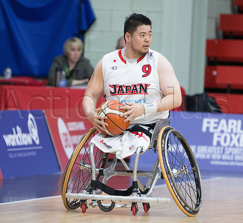 03.07.2016. Leicester Sports Arena, Leicester, England. Continental Clash Wheelchair Basketball, USA versus Japan.  Hiroaki Kozai (JPN) in possession of the ball