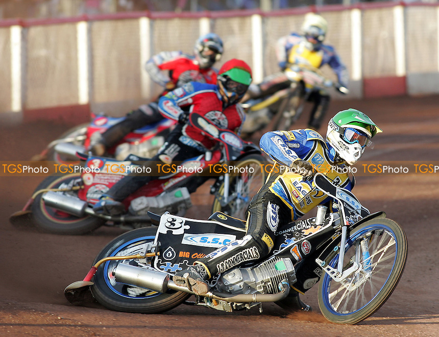Heat 3 - Watt (green), Kasprzak (red), Hefenbrock, Norris - Lakeside Hammers vs Eastbourne Eagles - Elite League Speedway at Arena Essex - 15/06/07 - MANDATORY CREDIT: Gavin Ellis/TGSPHOTO - SELF-BILLING APPLIES WHERE APPROPRIATE. NO UNPAID USE -  Tel: 0845 0946026