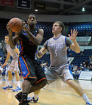 January 24, 2015 - Colorado Springs, Colorado, U.S. -   Boise State guard, Derrick Marks #2, battles Air Force guard, Zach Kocur #5, during a Mountain West Conference match-up between the Boise State Broncos and the Air Force Academy Falcons at Clune Arena, U.S. Air Force Academy, Colorado Springs, Colorado.  Boise State defeats Air Force 77-68.