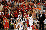 31 MAR 2012:  Jeff Withey (5) of the University of Kansas tries to block the shot of Deshaun Thomas (1) of the Ohio State University during the Semifinal Game of the 2012 NCAA Men's Division I Basketball Championship Final Four held at the Mercedes-Benz Superdome hosted by Tulane University in New Orleans, LA. Kansas defeated Ohio State 64-62 to advance to the national final. Brett Wilhelm/ NCAA Photos