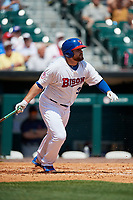 Buffalo Bisons first baseman Rowdy Tellez (34) grounds out during a game against the Pawtucket Red Sox on June 28, 2018 at Coca-Cola Field in Buffalo, New York.  Buffalo defeated Pawtucket 8-1.  (Mike Janes/Four Seam Images)