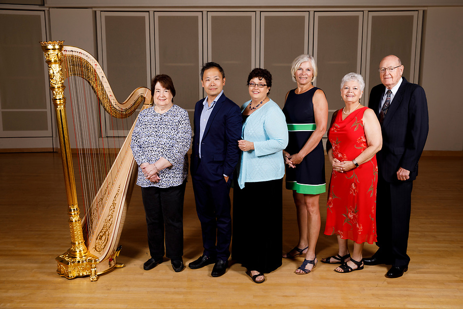 Members of the USA International Harp Competition Board of Directors pose for a group photo during the 11th USA International Harp Competition at Indiana University in Bloomington, Indiana on Saturday, July 13, 2019. Pictured from left are: Beatrice Carlyss, Charles Lin, Debra Pekin, Jill Pitz, Nancy Jones Miller and Clarence D. Miller. (Photo by James Brosher)