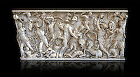 Roman sarcophagus depicting a battle between Achilles and Pentesilea and Amazons, the faces of the deceased have been sculpted over the Greek heroes, circa 230-250 AD, inv 933, Vatican Museum Rome, Italy,  black background