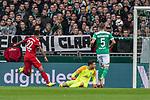 01.12.2018, Weserstadion, Bremen, GER, 1.FBL, Werder Bremen vs FC Bayern Muenchen<br /> <br /> DFL REGULATIONS PROHIBIT ANY USE OF PHOTOGRAPHS AS IMAGE SEQUENCES AND/OR QUASI-VIDEO.<br /> <br /> im Bild / picture shows<br /> Serge Gnabry (FC Bayern Muenchen #22), Jiri Pavlenka (Werder Bremen #01), <br /> <br /> Foto &copy; nordphoto / Ewert