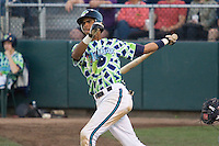 August 4, 2007: Infielder Ogui Diaz of the Everett AquaSox follows through after making contact with a pitch during a Northwest League game at Everett Memorial Stadium in Everett, Washington.