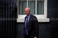 Chris Grayling MP (Secretary of State for Transport).<br /> <br /> London, 12/06/2017. Today, Theresa May's reshuffled Cabinet met at 10 Downing Street after the General Election of the 8 June 2017. Philip Hammond MP - not present in the photos - was confirmed as Chancellor of the Exchequer. <br /> After 5 years of the Coalition Government (Conservatives &amp; Liberal Democrats) led by the Conservative Party leader David Cameron, and one year of David Cameron's Government (Who resigned after the Brexit victory at the EU Referendum held in 2016), British people voted in the following way: the Conservative Party gained 318 seats (42.4% - 13,667,213 votes &ndash; 12 seats less than 2015), Labour Party 262 seats (40,0% - 12,874,985 votes &ndash; 30 seats more then 2015); Scottish National Party, SNP 35 seats (3,0% - 977,569 votes &ndash; 21 seats less than 2015); Liberal Democrats 12 seats (7,4% - 2,371,772 votes &ndash; 4 seats more than 2015); Democratic Unionist Party 10 seats (0,9% - 292,316 votes &ndash; 2 seats more than 2015); Sinn Fein 7 seats (0,8% - 238,915 votes &ndash; 3 seats more than 2015); Plaid Cymru 4 seats (0,5% - 164,466 votes &ndash; 1 seat more than 2015); Green Party 1 seat (1,6% - 525,371votes &ndash; Same seat of 2015); UKIP 0 seat (1.8% - 593,852 votes); others 1 seat. <br /> The definitive turn out of the election was 68.7%, 2% higher than the 2015.<br /> <br /> For more info about the election result click here: http://bbc.in/2qVyNRd &amp; http://bit.ly/2s9ob51<br /> <br /> For more info about the Cabinet Ministers click here: https://goo.gl/wmRYRd