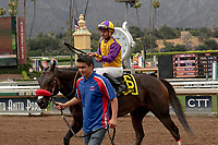 ARCADIA, CA  JUNE 16:#6 Ollie's Candy, ridden by Kent Desormeaux, return to the connections after winning the Summertime Oaks (Grade ll) on June 16, 2018 at Santa Anita Park in Arcadia, CA. (Photo by Casey Phillips/Eclipse Sportswire/Getty Images)