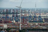 GERMANY, Hamburg, view from Siemens wind turbine to Container terminal in the harbour / DEUTSCHLAND, Hamburg, Blick vom Trimet Gelaende, von einer Siemens Windkraftanlage des kommunalen Stromerzeuger Hamburg Energie auf Containerterminal im Hafen und Nordex WKA von Hamburg Wasser/Hamburg Energie und Elbe