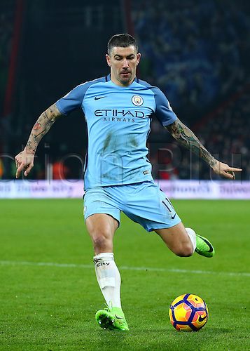 February 13th 2017, Vitality Stadium, Bournemouth, Dorset, England; EPL Premier league football, Bournemouth versus Manchester City; Aleksandar Kolarov of Manchester City Knocks the ball forward