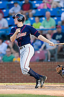 Jared Goedert (12) of the Kinston Indians follows through on his swing versus the Winston-Salem Warthogs at Ernie Shore Field in Winston-Salem, NC, Saturday, May 17, 2008.