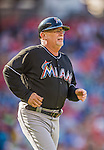 19 September 2015: Miami Marlins first base coach Perry Hill trots out to his position during a game against the Washington Nationals at Nationals Park in Washington, DC. The Marlins fell to the Nationals 5-2 in the third game of their 4-game series. Mandatory Credit: Ed Wolfstein Photo *** RAW (NEF) Image File Available ***