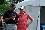 HOUSTON, TX - MAY 12: Melissa Kiker of Rhodes College  talks to Assistant Coach Sam Kern during the Division III Women's Golf Championship held at Bay Oaks Country Club on May 12, 2017 in Houston, Texas. (Photo by Rudy Gonzalez/NCAA Photos/NCAA Photos via Getty Images)
