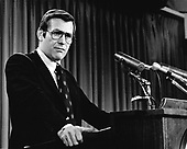 United States Secretary of Defense Donald H. Rumsfeld conducts his first news conference in the Pentagon in Washington, DC on December 22, 1975.  Secretary Rumsfeld took the oath of office November 20, 1975.<br /> Mandatory Credit: Frank Hall / DoD via CNP