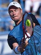 Washington, DC - August 5, 2015: Lleyton Hewitt makes a backhand shot during a match against Feliciano Lopez at the Citi Open tennis tournament at the FitzGerald Tennis Center in the District of Columbia, August 5, 2015.  (Photo by Don Baxter/Media Images International)