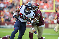 Landover, MD - November 18, 2018: Houston Texans tight end Jordan Akins (88) is tackled during the  game between Houston Texans and Washington Redskins at FedEx Field in Landover, MD.   (Photo by Elliott Brown/Media Images International)