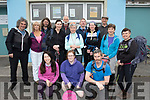 Pictured on Easter Saturday morning, outside the local Halla, in Brandon, about to get the bus to the Conor pass car park are the first group to take park in the Cloghane-Brandon hillwalking and music Festival, taking on the difficult walk of, Cnapán Mór, Cam an Áir lakes and finishing at Kilmore cross.