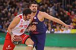 League ACB-ENDESA 2017/2018 - Game: 20.<br /> FC Barcelona Lassa vs Retabet Bilbao Basket: 90-58.<br /> Alex Mumbru vs Adrien Moerman.