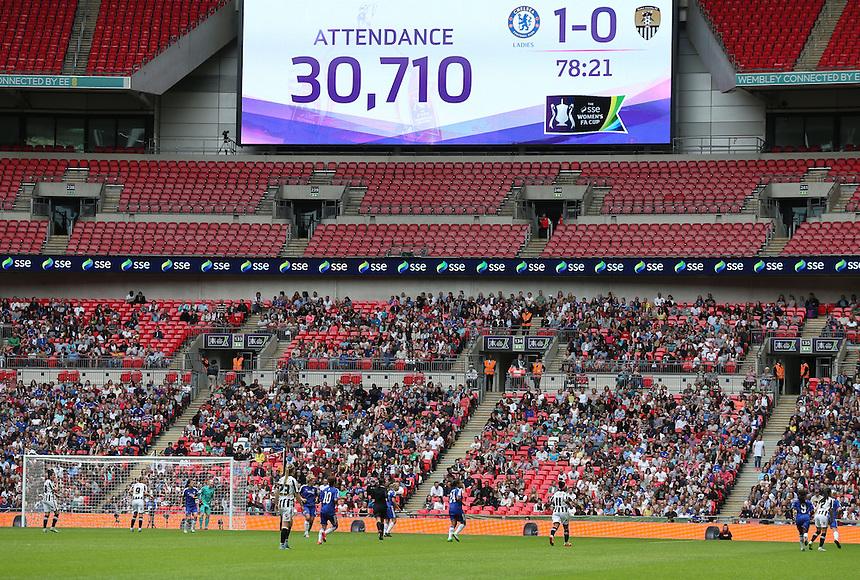 Scoreboard shoes the attendance<br /> <br /> Photographer Kieran Galvin/CameraSport<br /> <br /> Women's Football - The SSE Women's FA Cup Final - Notts County Ladies v Chelsea Ladies - Saturday 01 August 2015 - Wembley - London<br /> <br /> &copy; CameraSport - 43 Linden Ave. Countesthorpe. Leicester. England. LE8 5PG - Tel: +44 (0) 116 277 4147 - admin@camerasport.com - www.camerasport.com