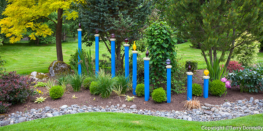 Vashon Island, WA: Blue posts cascade down through a perennial bed edged by a dry creek bed, Froggsong garden in summer