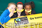Sophie Duggan, Carly Holden and Charity Agwu from Presentation National School Tralee at their Supporting Bananas for fairtrade event at the school on Friday.