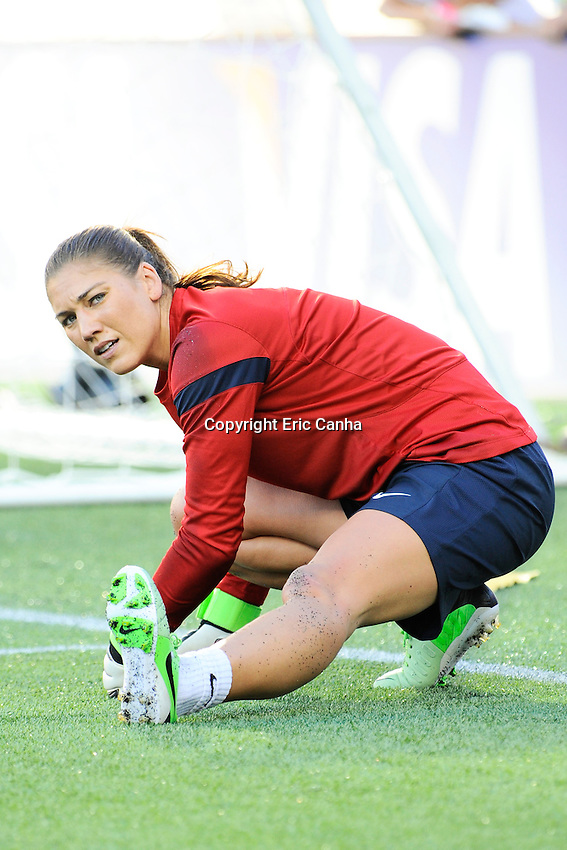 US Women's National goalkeeper Hope Solo (1) stretches before the International Friendly soccer match between the USA Women's National team and the Korea Republic Women's Team held at Gillette Stadium in Foxborough Massachusetts.   Eric Canha/CSM