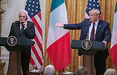 United States President Donald J. Trump and President Sergio Mattarella of the Italian Republic conduct a joint press conference in the East Room of the White House in Washington, DC on Wednesday, October 16, 2019.<br /> Credit: Ron Sachs / CNP