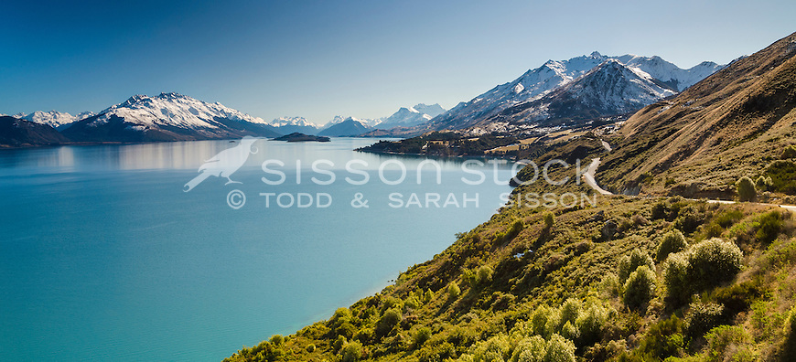 View from lookout down Lake Wakatipu towards Glenorchy on a clear day, Queenstown, Southern Lakes, South Island, New Zealand - stock photo, canvas, fine art print