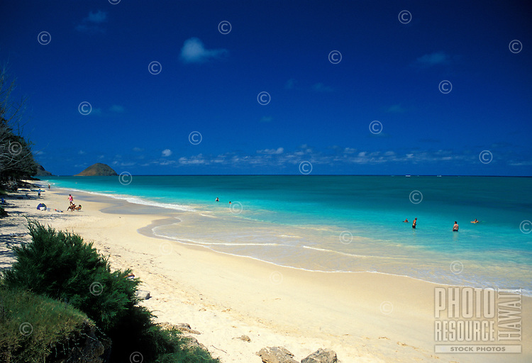 The inviting white sands and warm blue waters of Bellows  Beach Park , located on windward Oahu near the town of Waimanalo.