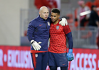 TORONTO, ON - OCTOBER 15: Brad Guzan and Zack Steffen #1 of the United States have a few words with each other during a game between Canada and USMNT at BMO Field on October 15, 2019 in Toronto, Canada.