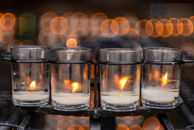 March 27, 2020; Candles at the Grotto. (Photo by Barbara Johnston/University of Notre Dame)